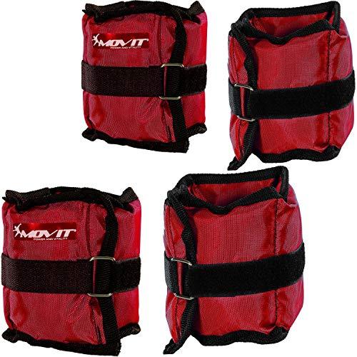 Movit 4er Set Gewichtsmanschetten, 2X 500g und 2X 1000g Laufgewichte für Fuß- und Handgelenke in 3 Farbvarianten Rot