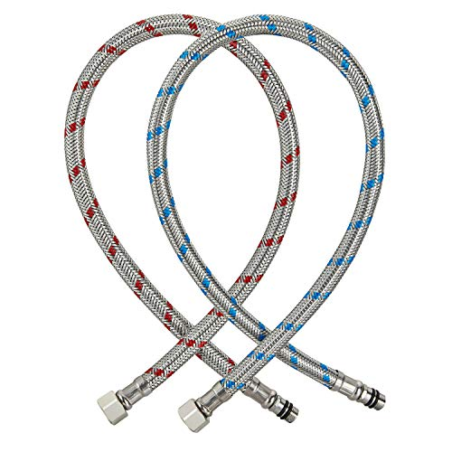 SLSF Faucet Supply Lines, Braided Stainless Steel Faucet Supply Hoses 3/8-Inch Female Compression Thread x M10 Male Connector,2 Pcs(1 Pair)32 Inch/80 cm