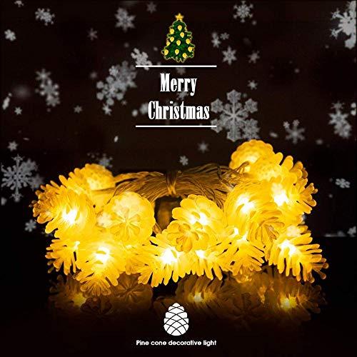 20 LED Weihnachtsbeleuchtung mit Tannenzapfen 2 M Weihnachtsbeleuchtung mit Akku Christbaumschmuck auf Hausgartenterrasse Christbaum warmweiß