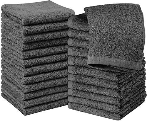 Utopia Towels– Set med tvättdukar i 24 bomull – 30 x 30 cm, Salviagrön – 100% Ringspunnen Bomull, Premium Kvalitet Flanellansiktstyg, Mycket Absorberande och mjuk känsla Fingertoppshanddukar (grå)
