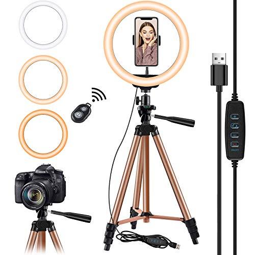 10.2 pulgadas Selfie Anillo de luz con Eocean trípode de 50 pulgadas para YouTube / Transmisión en vivo / maquillaje, Mini cámara de luz de anillo para Vlog / Video / Fotografía Compatible con iPhone Xs / Max / XR 8/7 Plus / X / Android