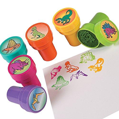 Elfen und Zwerge Stempel Dino, Stempelset Dinosaurier, Bunte Kinderstempel, 6 St