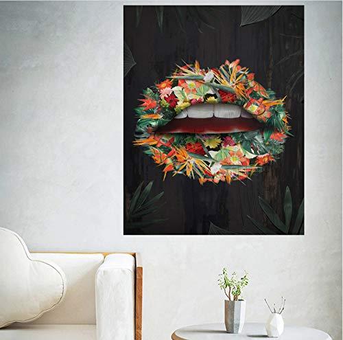 Roze Bloem Lippen Met Geld Citaat Poster Print Wall Art Olieverfschilderij Foto Woonkamer Bar Idee Creatieve Home Decor A244 (40X50Cm) Frameloos