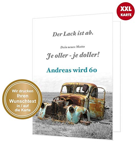 Maxi Glückwunschkarte zum Geburtstag, mit Wunschtext zum Ändern, jedes Alter. Plus Umschlag. XXL DIN A4.