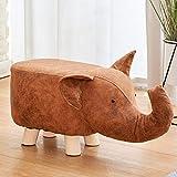 APcjerp Animal Infantil Cambiar Sus Zapatos Historieta Creativa baidunzi Moda Elefante fecal en casa Taburete de Madera Sofá otomana de heces (Color: Beige) Hslywan (Color : Brown)