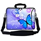 Meffort Inc 15 15.6 inch Neoprene Laptop Bag Sleeve with Extra Side Pocket, Soft Carrying Handle & Removable Shoulder Strap for 14' to 15.6' Size Notebook Computer - Blue Purple Butterfly