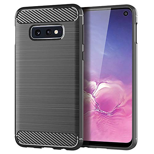 EGALO Samsung Galaxy S10e Case,Slim Thin Carbon Fiber TPU Shock Absorption Anti-Scratches Flexible Soft Protective Cases Cover for Galaxy S10e(Gray)