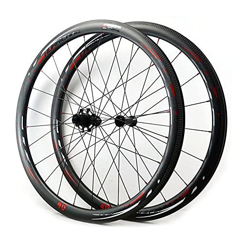 QHY 700C Ruedas De Carbono C/V Disc Bicicleta De Carretera Ruedas 40 50mm Tubeless Ready Disco Freno 9x100/9x130mm Sólo 1600g (Size : 50mm)