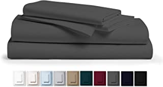 """Kemberly Home Collection 800 Thread Count 100% Pure Egyptian Cotton – Sateen Weave Premium Bed Sheets, 4- Piece Dark Grey Queen- Size Luxury Sheet Set, Fits mattresses Upto 18"""" deep Pocket"""