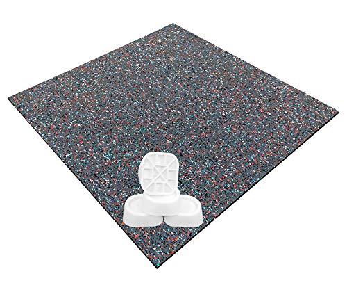 Tapis anti-vibrations universel pour machine à laver ou sèche-linge, antidérapant, 62x60x0,6cm, multicolore et lot de 4 pieds antivibration, amortisseurs de vibrations et d'oscillation