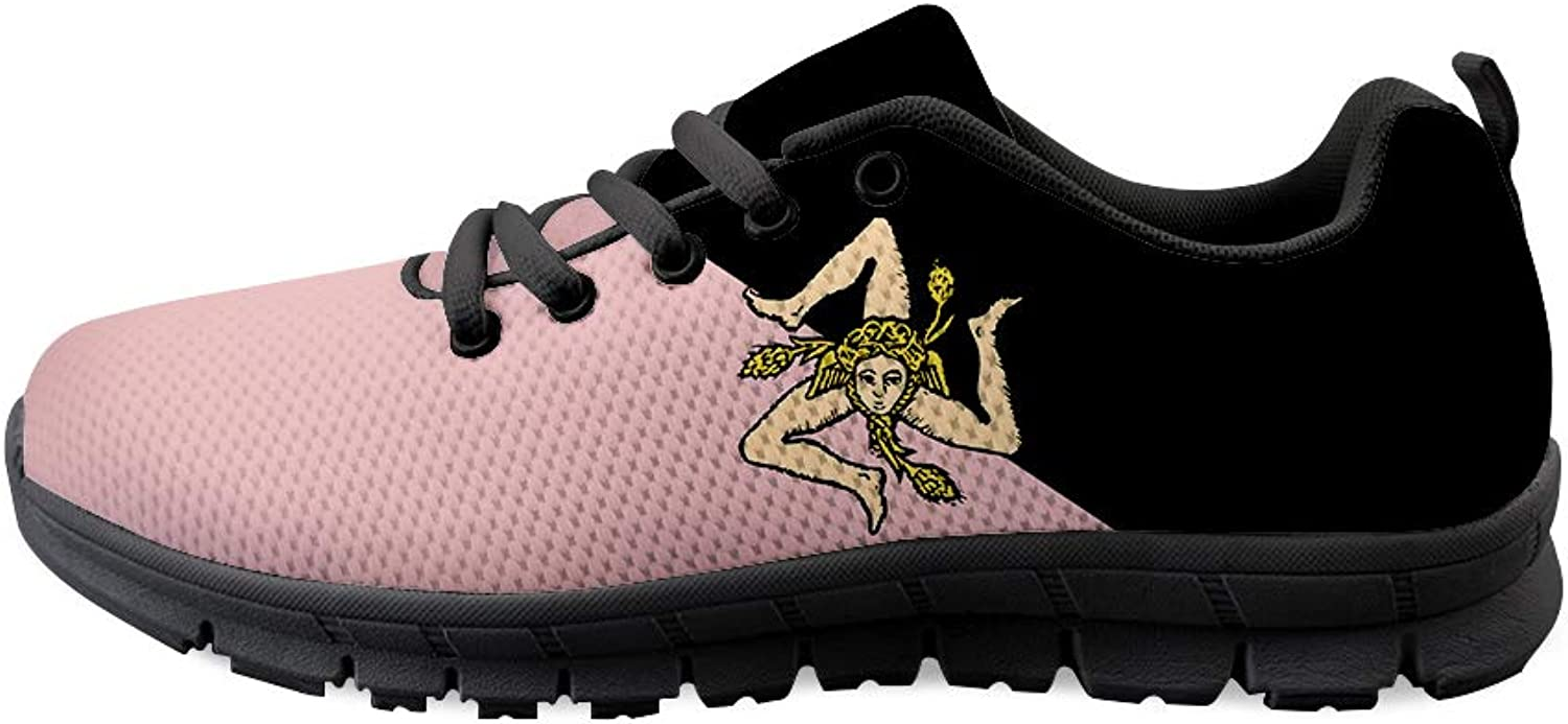 Owaheson Lace-up Sneaker Training shoes Mens Womens Pink Black Sicily Flag
