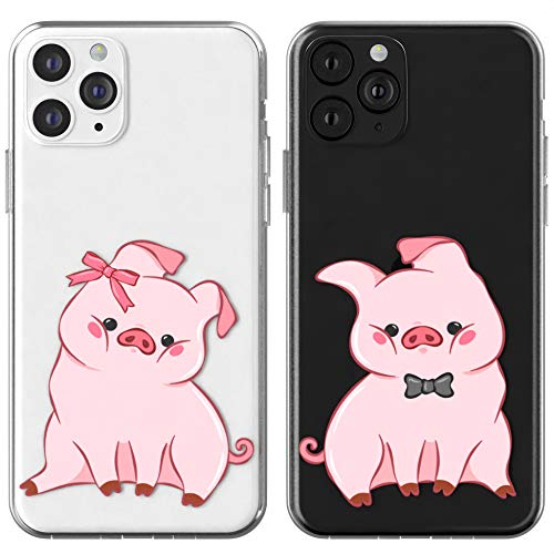 Toik Matching Couple Cases for Apple iPhone 11 Pro Xs Max Xr 10 X 8 Plus 7 6s 5s SE Chubby Piglets TPU Lightweight Silicone Gift Anniversary Animals Funny Cute Slim Soulmate BFFs Pink Best Friend