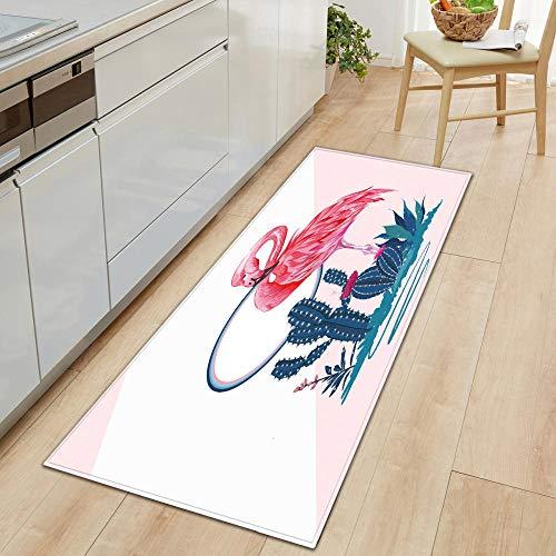 Alfombra para puerta de interior, color rojo flamingo, 40 x 60 cm, alfombra larga para pasillos, alfombra de cocina, antideslizante, para baño, estaciones de trabajo