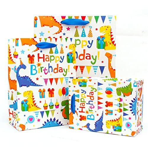 3枚 ギフト バッグ 紙袋 手提げ袋 ラッピング プレゼント袋 かわいい恐竜 厚手 しっかり 自立 手提げ マチ 付き 可愛い誕生日 Happy Birthday