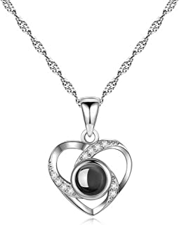 Inf-way I Love You Necklace, 925 Sterling Silver 100 Languages Projection on Round Onyx Pendant Loving Memory Collarbone Necklace 1 Pcs