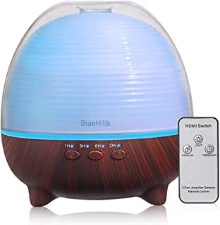 BlueHills Premium Essential Oil Diffuser with Remote Aromatherapy Humidifier Large Capacity Coverage Area for Home Room Office Spa Long 12 hour Run Timer Mood Lights Cute -Dark Wood Grain-S03-600ML