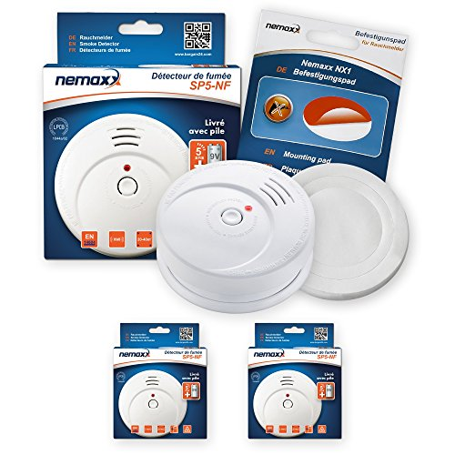 2X Nemaxx SP5-NF Feuermelder - hochwertiger batteriebetriebener Rauchwarnmelder 9V Alkalibatterie - weiß + NX1 Befestigungspad