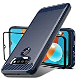 Dretal Compatible for LG K51 Case, LG Reflect Case with Tempered Glass Screen Protector, Shock-Absorption Slim Fit Flexible TPU Case Brushed Texture Soft Rubber Protective Cover (Navy)