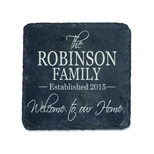 LifeSong Milestones Personalized Slate Bar Drink Coaster Set 4 pc Custom Welcome to Our Home Family Established Last Name and Year Gift for Parents Anniversary 4 x 4