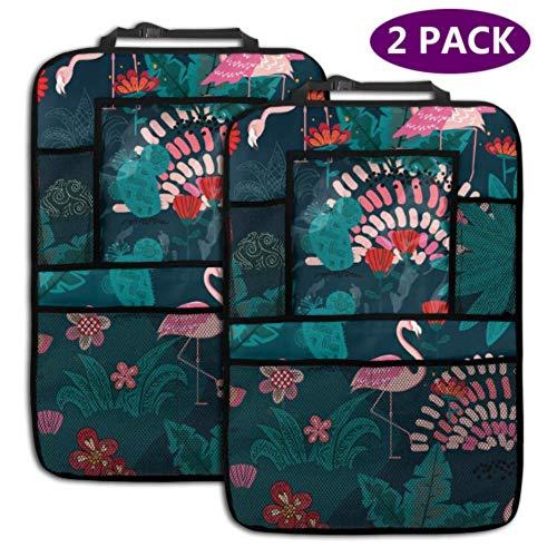 Organisateur de voiture de siège arrière Flamingo Tropical Forest Textile 4 poches de rangement Organisateur de siège arrière Organisateur de siège de voiture Travel Accories (2 Pack)