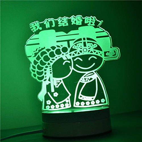 Living Room Lampe de chevet Night Light Lampe de table 3D Tridimensionnelle Dimensional Bedroom Petite lampe de table (couleur : E)