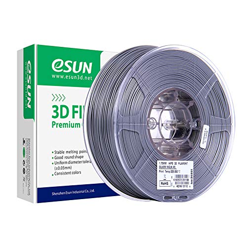 eSUN Limonene Soluble HIPS Filament 1.75mm, HIPS 3D Printer Filament, Dimensional Accuracy +/- 0.05mm, 1KG (2.2 LBS) Spool 3D Printing Filament Support Material for 3D Printers, Silver