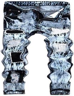 Men's Skinny Denim Jeans Vintage Folds Wash Work Frayed Straight Pants
