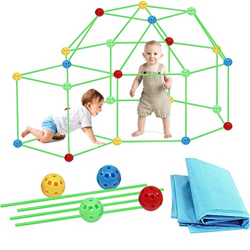HHYSPA Fort Building Kit for Kids, 87 Pcs Construction Fort Building Kits, Building Toys Play Tent Indoor and Outdoor Playhouse for Kids, Tunnels, Rocket, DIY Fun Fort Building Castles