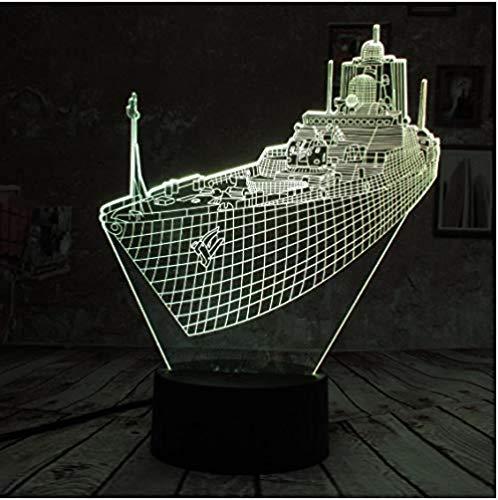 OUUED 3D LED Luz de noche para niños 7 colores cambiantesLed 3D Lámpara de mesa Barco Steamship Forma Regalo Acrílico Luz de noche Muebles Decorativos Colorido 7 colores Hogar Dormitorio al lado