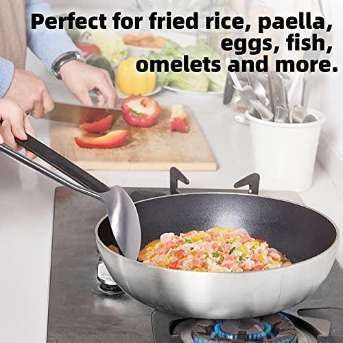YYP Espátula Wok, 304 Acero Inoxidable Espátula para Wok con Mango de Madera Resistente al Calor, Diseño de Agarre Cómodo Pala para Cocinar Tortitas de Pescado, Hamburguesas, 38,9 cm