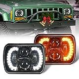 COWONE DOT Cree 120W 5x7 Inch LED Headlights Halo 7x6 Led Headlamp Brightness Turn Signal Light w/High Low Beam Compatible with Jeep Wrangler YJ Cherokee XJ H6054 H5054 6054 6052 Trucks- Pair