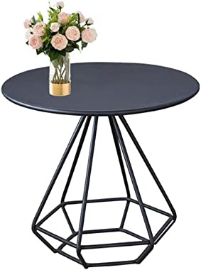 Coffee Table Single-Layer Flower Stand, Iron Art Multifunction Small Round Table Office Cafe Negotiating Table Bookstore Read