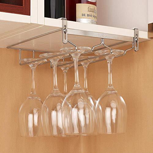 Mazu Homee Creative - Estante para copas de vino, para colocar en el armario, se utiliza para verter el armario de cocina, vino, barra de vino con hueco, color plateado