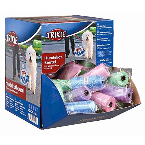 Trixie 22843 70 Dog Pick Up Display Hundekotbeutel, M, 20 Beutel/Rolle, sortiert