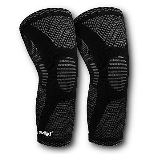 Trifyd  Ginocchiera di compressione e sostegno per il ginocchio Sport per il sollevamento pesi, Crossfit, Basket Ball, Tennis (la coppia)