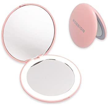 wobsion Compact Mirror with Light, 1x/10x Magnification Travel Makeup Mirror, Handheld 2-Sided Mirror, Compact Mirror for Purses, 3.5 inch Small Pocket Mirror for Handbag,Purse,Pocket,Round,Pink
