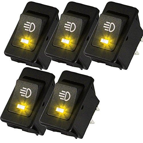 Mintice™ 5 X 12V Jaune voiture moto lumière de brume bouton d'éclairage de l'interrupteur à bascule LED 4Pin