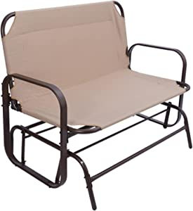 ZZT US 3-6 Days。Garden Love seat Outdoor Swing Glider Rockin Bench for 2 Person Double Sofa Patio Steel Frame Chair Set with Cushion Beige (One : One)