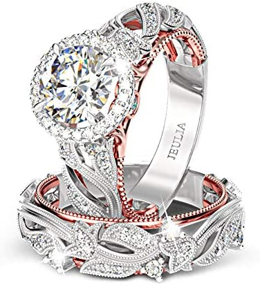 Jeulia 4 Carat Leaf Rings for Women 925 Sterling Silver 18 K Rose Gold Plated Round Cut Engagement product image