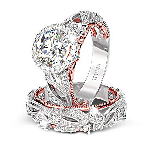 Jeulia 4 Carat Leaf Rings for Women 925 Sterling Silver 18 K Rose Gold Plated Round Cut Engagement Ring Set White Diamond Halo Cubic Zirconia Wedding Band CZ Solitaire Anniversary Promise Rings (6)
