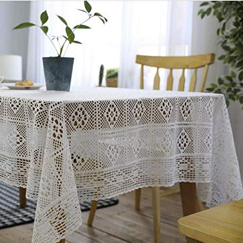 cloth Mantel Beige De Algodón Rectangular Hecho a Mano Crochet Hueco Decoración del Hogar Banquete De Boda Mantel-140x180cm