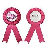 Ganador de un premio al de la cinta JJOnlineStore - para niños mangos de roseta de la fiesta de cumpleaños con regalito para fiesta de Pooh con tarta de cumpleaños con estampado vegetal de bethania Pin con el escudo del de los juguetes rosa Birthday Girl