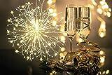 Fuegos Artificiales Luces Cadena Luces LED Navidad,198 LED Ligero Alimentado por Batería Resistente,Alagua IP65, 8 Modos de control remoto para jardín, terraza, boda, fiesta, decoración de bricolaje