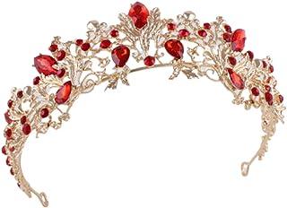 Tiara nuziale color rubino vintage con foglie, corona da principessa, tiara dorata per matrimoni, feste e balli di fine anno