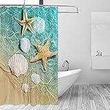 Seestern & Muscheln Duschvorhang, Badezimmer Dekorative Gardinen Wasserdicht Vorhang mit Haken 152,4 x 182,9 cm