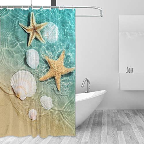 Starfish and Seashell Shower Curtain, Bathroom Decorative Curtains Waterproof Curtain with Hooks 60' x 72'