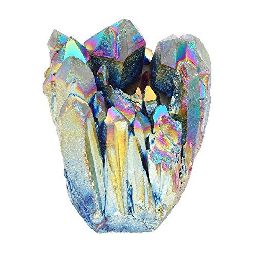 CrystalTears natürlicher Steinquarz mit Titanbeschichtung, Regenbogen-Kristall zur Heimdekoration, Edelstein, Geode, 4,7–6,4 cm groß, inkl. Box