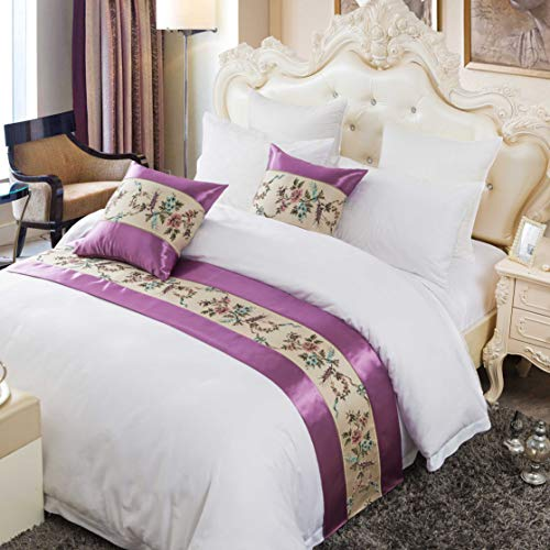 OSVINO - Colcha de cama, 100% poliéster, diseño floral bordado, protección para dormitorio y hotel, poliéster, Morado, matrimonio grande