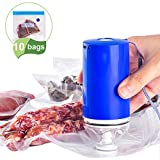 Sous Vide Bags BAP Free Reusable Food Vacuum Sealer with Rechargeable Vacuum Pump for Food Storage,...