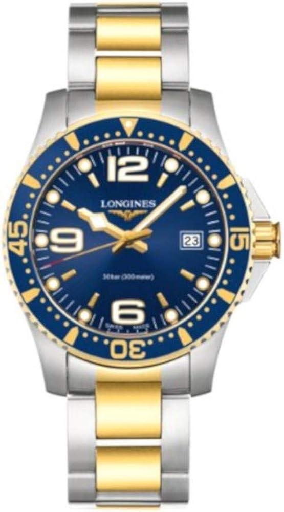 Longines orologio hydroconquest quarzo 41mm blu in acciaio inossidabile e rivestimento pvd giallo L37403967